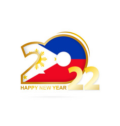 Year 2022 with philippines flag pattern happy new vector