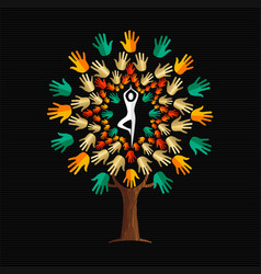 Yoga tree concept of people in meditation pose vector