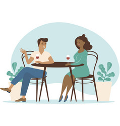 young multiracial couple spend time in cafe vector image