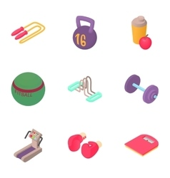 Active fitness icons set cartoon style vector image