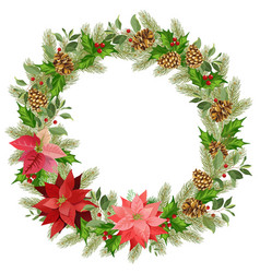 christmas wreath of red poinsettia and leaves vector image
