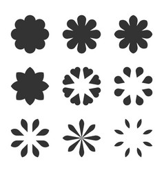 set of black flower design symbols flowers vector image