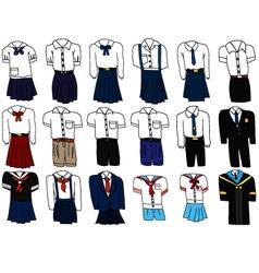 Set of thai student uniform vector