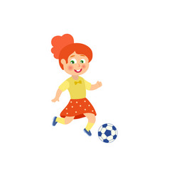 flat girl character playing football vector image vector image