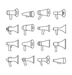 Megaphone announcement loudspeaker thin line vector image