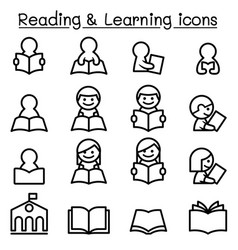 reading learning studying icon set in thin line vector image vector image