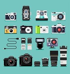 Camera flat icons vector image vector image