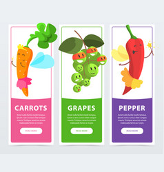 carrots grapes peppers banners set funny fruits vector image vector image
