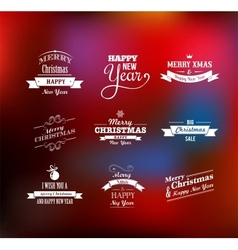 Christmas set - labels emblems and elements vector image vector image
