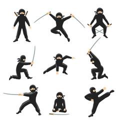 cute cartoon ninja kicking vector image vector image