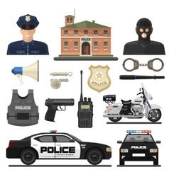 Flat Police Icon Set vector image