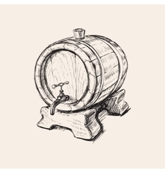 Hand Drawn Old Wine Barrel vector image vector image