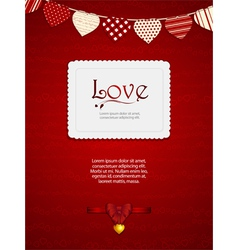 valentine heart card with ribbon and sample text vector image vector image