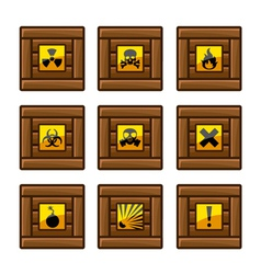 Wooden crates with danger signs vector image