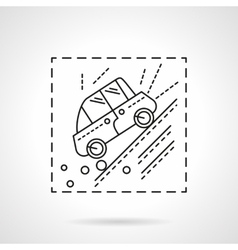 Car accident in the mountains line icon vector image