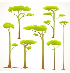 Cartoon Trees Collection Drawing vector image vector image