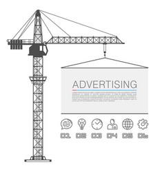 crane lifts the billboard vector image vector image