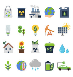 icons set on ecology theme green life vector image