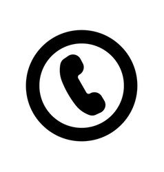 phone flat icon black symbol of phone vector image vector image