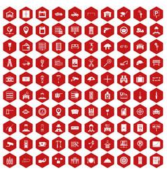 100 keys icons hexagon red vector