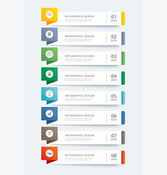 8 data infographics tab paper index template vector image