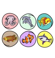 A set aquatic animal on round background vector