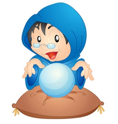 A woman with magic globe vector
