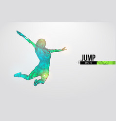 Abstract silhouette a wireframe jumping woman vector