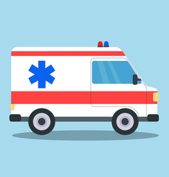 Ambulance van side view with blue and red siren vector