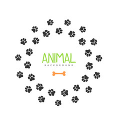 Animal footprint circle frame isolated vector