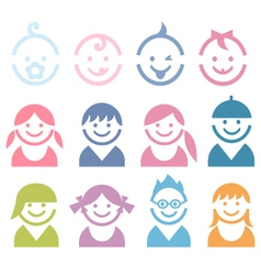Baand children faces vector