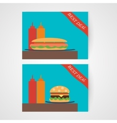 Banners with hamburger and hotdog vector image