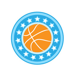 Basketball emblem with ball in starry frame vector