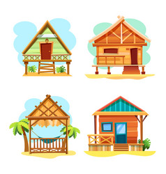 beach hut or island resort house bungalow vector image