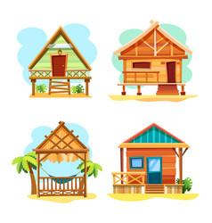 Beach hut or island resort house bungalow vector