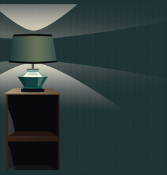 bedside table wiht night lamp and light vector image