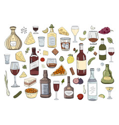 big set hand drawn alcohol drinks and glasses vector image