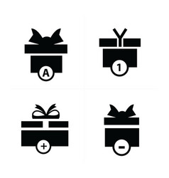 black gift and bubble talk icons vector image