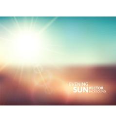 Blurry evening scene with brown field sun burst vector