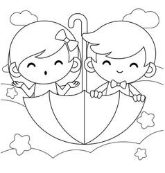 Boy and girl riding flying umbrella coloring book vector