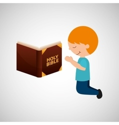 boy kneeling bleesed bible icon vector image