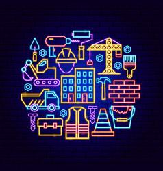building construction neon concept vector image