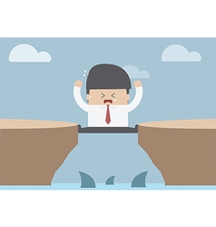 Businessman between the cliff with shark Business vector