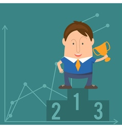 Businessman Cartoon with a Trophy vector image