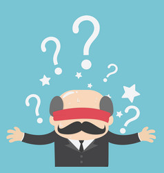 businessmen are blindfolded and question mark vector image