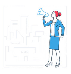 businesswoman with a megaphone - line design style vector image