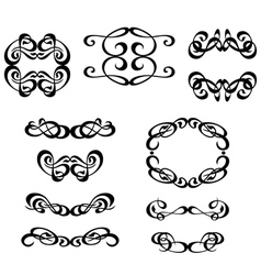 calligraphy ornament frame set vector image