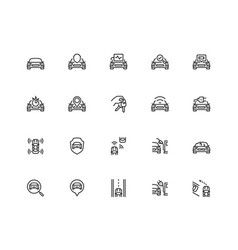 car related icon set in thin line style pixel vector image