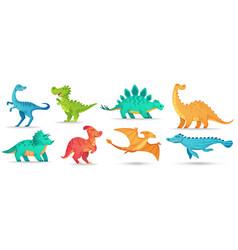 cartoon dino cute dinosaur funny ancient vector image