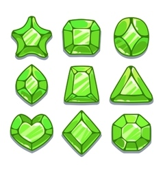 Cartoon green different shapes gems set vector image
